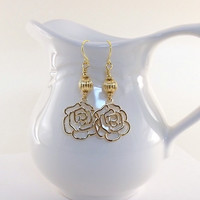 Earrings Simple Gold Rose Wires