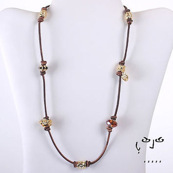 Joowels Women'S Multi Strand Bracelet and Necklace (Gold and Brown)