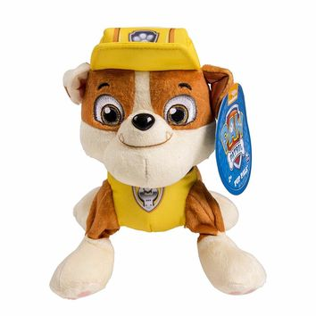 "Genuine PAW PATROL PLUSH! RUBBLE YELLOW DOG PUPPY PATROL SOFT DOLLS 8"" 20cm patrul canina kids toys"