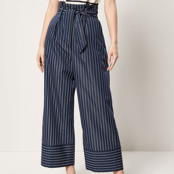 STRIPED TROUSERS WITH TIED BOW DETAIL - Women - Massimo Dutti