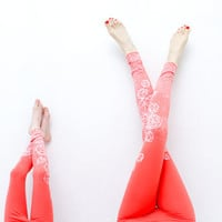 Coral crystal print  leggings for adults