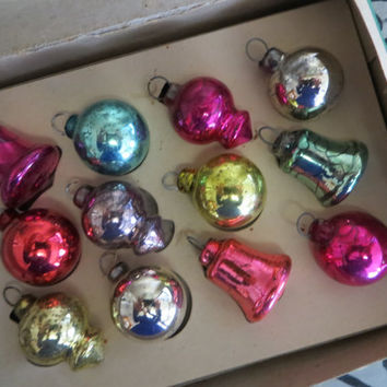 Antique Shiny Brite Feather Tree Ornaments Glass Ornaments Bell Ornament Christmas Tree Ornament Mercury Glass Ornaments Antique Ornaments