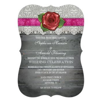 Hot Pink Gray Rustic Wood Rose Wedding Invite