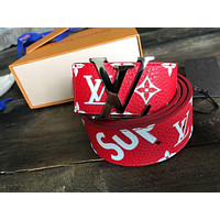 Supreme- x- Louis -Vuitton- Monogram- Belt -Red Tagre™
