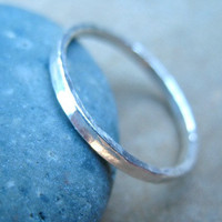 Silver Stacking Ring Fine Silver Hammered Band
