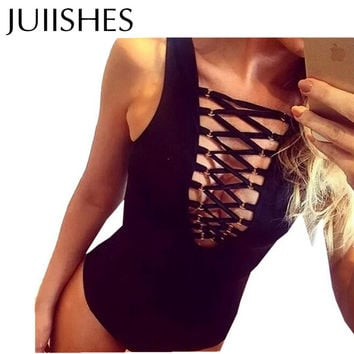 Sexy Playsuit 2016 New Arrival Bandage Jumpsuit Sleeveless Women's Clothing White/Red/Black Colors One Piece Playsuit & Bodysuit