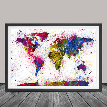 Watercolor World Map Art Print, Splash World Map, Wall Art Watercolor World Map Poster, Large Map Art Painting (40)