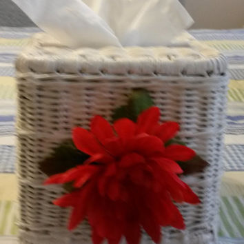 Up-Cycled Cottage Chic Vintage White Wicker Small Tissue Box Cover With Large Red Flower