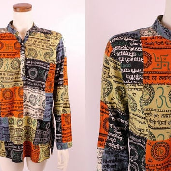 Vintage 90s - Ethnic Buddist Patchwork Print - Long Sleeve Tunic Blouse Top Shirt - Hippie New Age Boho
