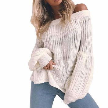 Women's Ivory Lantern Sleeve Off the Shoulder Knit Sweater