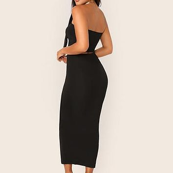Black Solid Tube Crop Top and Long Pencil Skirt Set Slim Fit 2 Piece Set Women Stretchy Skinny Two Piece Set