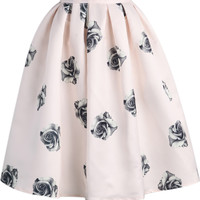 Black Rose Print in Pink Midi Skater Skirt