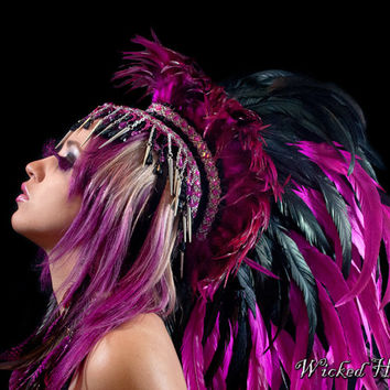 Feather Mohawk Pink and Black - Made To Order