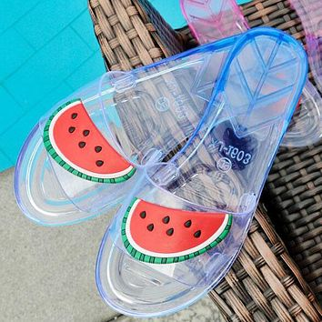 Summer Trending Women Stylish Casual Watermelons Pattern Transparent Crystal Sandal Slipper Shoes I12320-1