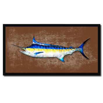 Swordfish Fish Brown Canvas Print Picture Frame Gifts Home Decor Nautical Wall Art