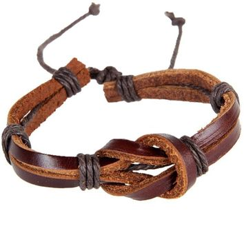 Retro Leather Knot Shaped Bracelet