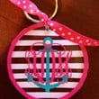 Personalized Monogrammed Anchor Striped Keychain
