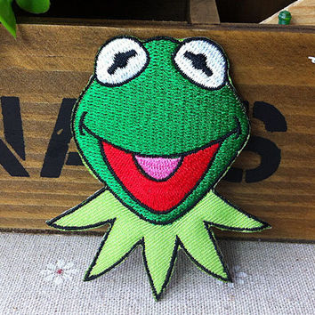 The Muppets Kermit Frog iron on patch E084 by happysupply on Etsy