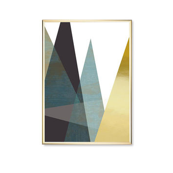 Blue Transparent Triangles, Modern Shapes Poster, Real Gold Foil, Shapes Print, Modern Art, Triangles Print, Geometric Poster, Home Decor,