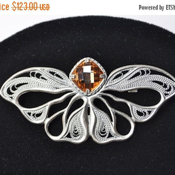 ON SALE Vintage 925 Silver & Yellow Topaz Butterfly Brooch Pin, Southwestern, Openwork, Filigree, Checkerboard Cut, Exquisite! #b197