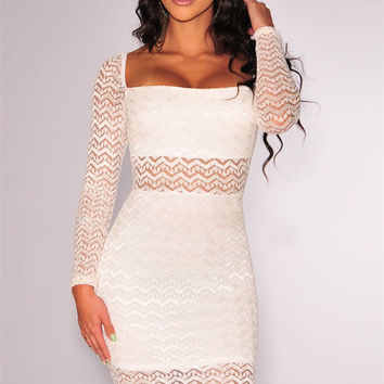White Sheer Long Sleeve Zigzag Pattern Lace Bodycon Dress