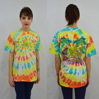 Tie Dye Shirt Hard Rock Cafe 90s Soft Grunge Hippie Mens MED Womens Unisex San Juan Vacation Tshirt Handmade Tie Dye Vintage Clothing 1990s
