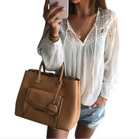 Hot Sellling Women Hollow Out Chiffon Summer Blouse Sexy Long Sleeve Shirts Lady Casual V-neck Loose Blusas With Strap M0227