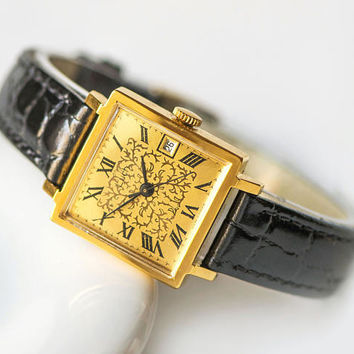 Floral women's watch Ray, unused women watch gold plated, square watch for lady, jewelry women watch gift, new premium leather strap
