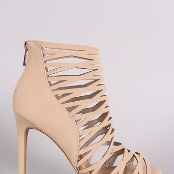 Anne Michelle Nubuck Caged Peep Toe Stiletto Heel