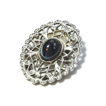 Small Scarf Ring,Vintage Scarf Clip,Oval Scarf Holder,Silver Tone and Black Scarf Slide,Scarf Ring,Scarf Jewelry,Collar Clip,Bridesmaid Gift