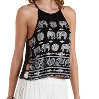 Rhinestone Elephant Print Caged Tank Top