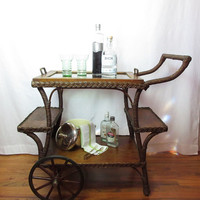 Victorian Tea Cart Portable Bar Entry or Side Table Wicker Oak Glass Serving Tray Original Wheels