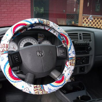 1 Set of Wonder Woman Car Seat Covers and Steering Wheel Cover Custom Made.