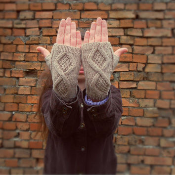 Knit Fingerless Gloves Fingerless Mittens Women Gloves Fingerless Wool Gloves Handknit Wool Mittens Beige Gloves Arm Warmer