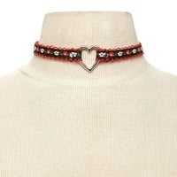 Floral Embroidery Heart Choker
