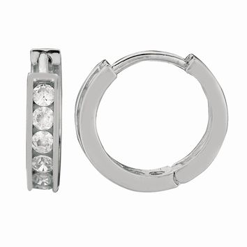 Silver with Rhodium Finish Shiny 3.0X10mm Clear Cubic Zirconia Huggie Earring