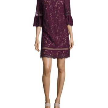 BCBGMAXAZRIA - Abstract-Print Ruffle-Hem Dress