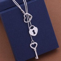 Womens/Girls Heart with Key Lariat Necklace - Valentine's Day - USA STOCK