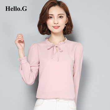 2016 Korean Elegant Office Wear Women Chiffon Blouse Bandage Bows Puff Sleeve Pink Chiffon Shirt Female Blusas Plus Size XXL