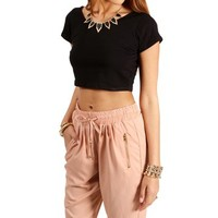 Black Fitted Cropped Tee