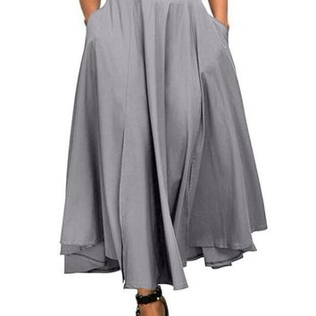 Front Slit Belted High Waist Maxi Skirt