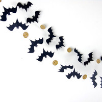 Halloween Garland, Bat Garland, Paper Garland in Black and Gold