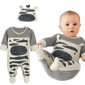 2019 New Autumn Baby Boy Clothes Set Baby Boy Zebra Gray Cotton Long-Sleeved jumpsuit Newborn Rompers+Hat Baby Clothing Set