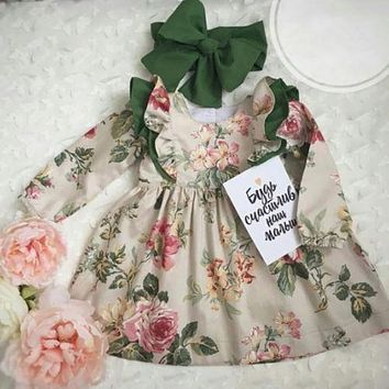 2018 Autumn Newborn Infant Baby Girl Floral Long Sleeve Party Pageant Prom Tutu Dress Cute Princess Fashion Girl Clothes 12M-5T