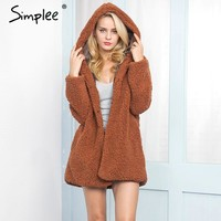Simplee Faux lambswool  hooded  long jacket coat Casual  winter  hairly outerwear  2017 New autumn women outerwear