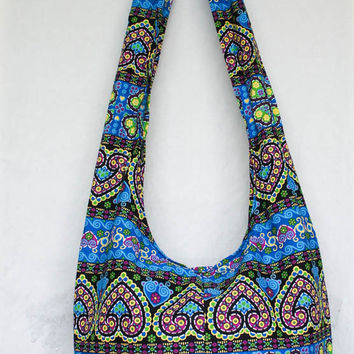 YAAMSTORE sky blue spade heart tribal chevron print  hobo bag sling shoulder crossbody hippie boho purse