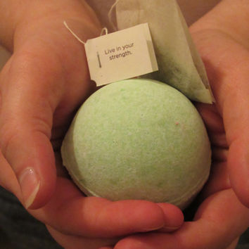 Bath Bomb (Spring Awakening) ( 100% Homemade & Handmade) infused with Organic Green Tea Bag!