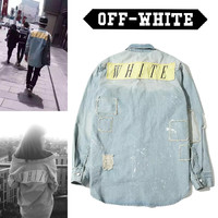 2016 new fashion Hba off white gd paint applique logo patch finishing retro denim shirt men Women shirt outwear