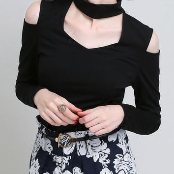 Black Long Sleeve Cut-Out Top