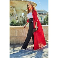 Natalie Red Woven Long Sleeve Button Up Duster Jacket